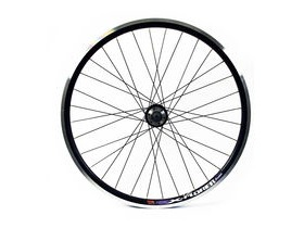 Wilkinson Wheels 26x1.75 Front - Black Double Wall MTB Rim - Disc/V-brake - Shimano 475 Black Disc Hub Q/R Black Spokes, 32 Hole Black 26""