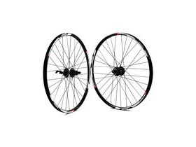 Wilkinson Wheels 650b Front And Rear Set - Black/White Mach 1 Neo Disc Rim - Deore 525 8/9/10 Speed 32 Hole Black Spokes 27.5""